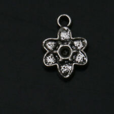 Alloy Flowers Tibetan Silver Charms Pendants Jewelry Making Fit Necklace