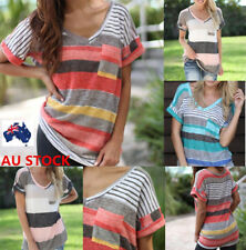 AU 6-22 Plus Size Women V Neck Short Sleeve Striped Casual Loose Tops Blouse