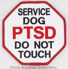 PTSD SERVICE DOG DO NOT TOUCH STOP SIGN PATCH 3 INCH Danny & LuAnns Embroidery
