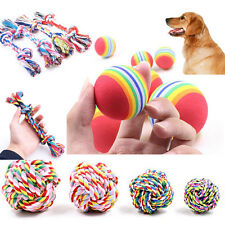 Cotton Rope Tough Rubber Ball Pet Dog Toy Training Chew Play Fetch Bite Toys