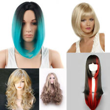 AU Women Short Long Blonde Gradient Wavy Straight Hair Cospaly Party Wig+Wig Cap