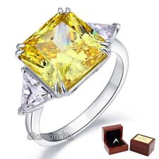 Sterling 925 Silver Ring 8 Carat Princess Yellow Canary Lab Created Diamond