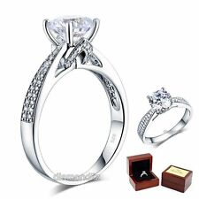 925 Sterling Silver Wedding Engagement Ring 2 Ct Brilliant Lab Created Diamond^