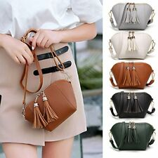 Women's PU Leather Shoulder Bag Tote Tassel Satchel Messenger Crossbody Handbag