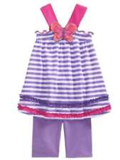 Young Hearts Infant Girls Purple Stripe Butterfly Outfit Shirt & Shorts
