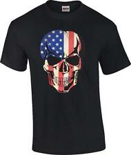 Men's American Flag Skull Black T-Shirt US Flag Skull Sizes S-6x
