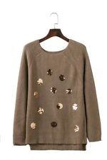 New Womens  Fall Winter Brown/White Sequins Embroidered Knitted Jumper Sweater