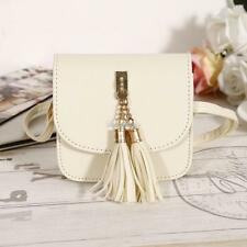 New Fashion Women Synthetic Leather Tassel Shoulder Bag Saddle Bag Handbag SH