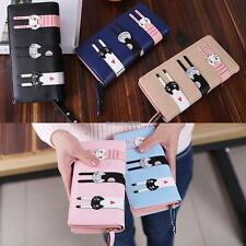 Women Cute Cat Bifold Purse Long Wallet Multi-pocket Coin Credit Cards ED