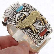 Navajo Turquoise Coral  ELK Watch Bracelet Mens s7-8.5 Sterling Silver Gold Cuff