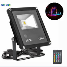 Waterproof 10W RGB LED Flood light Outdoor Landscape Lamp with US 3-Plug+ remote