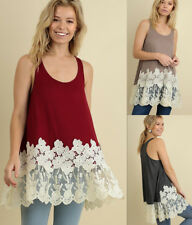UMGEE Embroidered Lace Hem Long Tunic Tank Top Loose Flowy Hippie Casual Boho
