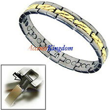 ACCENTS KINGDOM MEN'S TWO TONE MAGNETIC POWER TITANIUM GOLF BRACELET T1