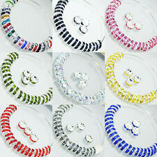 100PC 8MM Czech Crystal Rhinestone Glass Charms Rondelle Loose Spacer Beads
