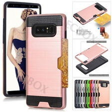 Brushed Texture Card Slot Hybrid Shockproof Case Cover For Samsung Galaxy Note 8
