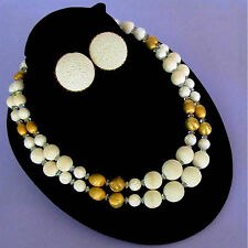 Vintage Signed Hobe 2 St White & Gold Sugar Glass Bead Necklace & Clip Earrings
