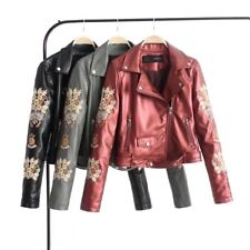 New Womens Red Gray Black Floral Embroidered Faux Leather Bomber Jacket Coat