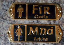Irish Brass Pub Bar Bathroom Restroom Signs - Fir Mna / Men Women / Gents Ladies