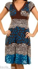 Teal/Brown Retro Animal/Leopard Cap Sleeve Dress S/M/L