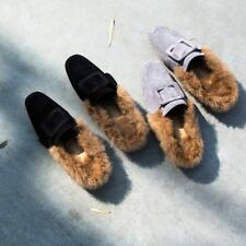 Womens Ladies Fashion Faux Fur Suede Mules Slip On Comfy Loafers Shoes Flats