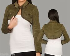 Olive Green Brushed Corduroy Beaded Cropped Bolero/Shrug/Cover Jacket S/M/L