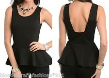 Black Low Back Textured Knit Sleeveless Peplum Blouse Top S M L