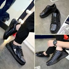 Korea Mens Lace-up Patent Leather Comfy Thick Soles Flats Shoes Casual Shoes New