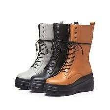 Punk Womens Lace Up Zip High Wedge Heels Creeeprs Mid Calf Boots Combat Shoes
