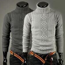 Fashion Mens Warm Slim Fit Pullover Cardigan Sweater Turtleneck Casual Knit h