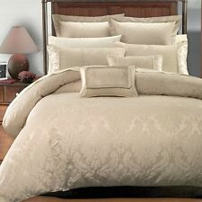 7 PC Sara Jacquard Duvet Cover Set 100% Luxury Beige By Royal Hotel Collection