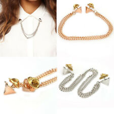 WOMEN OL STYLE ROCK CHAINS SPIKE RIVETS STUD T-SHIRT COLLAR TIPS BROOCH LIVELY