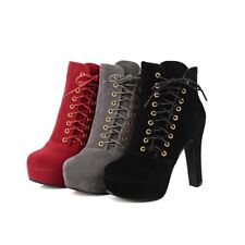 Womens Shoes Lace Up High Heels Faux Suede Ankle Boots Platform Party New