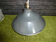 LARGE VINTAGE FRENCH GREY ENAMEL LOFT INDUSTRIAL LIGHT
