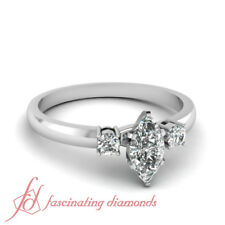 .65 Ct Marquise Cut:Very Good Diamond Three Stone Engagement Ring 14K Gold GIA