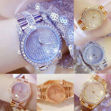 Women Rhinestone Lady Stainless Steel Band Analog Quartz Wrist Watch Exquisite