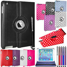 LEATHER 360 DEGREE ROTATING CASE STAND COVER FOR NEW 2013 APPLE iPAD 5 iPAD AIR