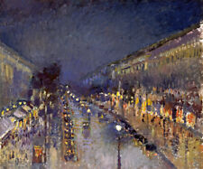 THE BOULEVARD MONTMARTRE AT NIGHT PARIS 1897 PAINTING BY CAMILLE PISSARRO REPRO