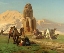 THE COLOSSUS OF MEMNON EGYPT PHARAOH STATUE PAINTING BY JEAN LEON GEROME REPRO