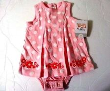 Carter's Infant Playwear 9 Months Pink White Polka Dots Embroidered Flowers