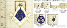 Masonic & Fraternal decorative fobs, various designs & keychain options