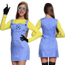 Womens Female Minion Despicable Me Ladies Fancy Dress Costume Outfit Goggles