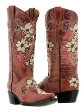 Womens Red Beige Flower Embroidered Leather Cowboy Cowgirl Boot Distressed Rodeo