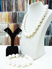 14mm Round South Sea Shell Pearl Necklace Bracelet Earring Womens Jewelry Set