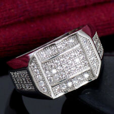 Men Fashion Square Copper Cubic Zirconia Finger Ring Jewelry Gift Little