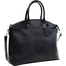 Dasein Ostrich Faux Leather Large Satchel with Patent