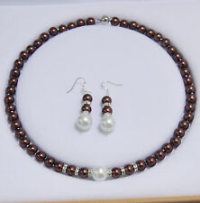 8-12MM Chocolate / White South Sea Shell Pearl Round Beads Necklace Earrings AAA