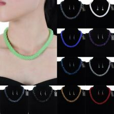 Fashion Charm Chain Pearl Crystal Choker Statement Pendant Necklace Earrings Set