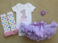 Girl 9 12 18 24 mo Lavender Personalized First Birthday Tutu Outfit 1st Baby