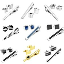Fashion Men's Stainless Steel Tie Bar Clasp Clip &Cufflink Business Jewelry Set