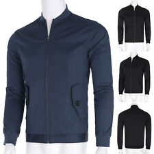 Casual Mens Fashion Stylish Slim Fit Coat Stand Collar Zipper Jackets Tops